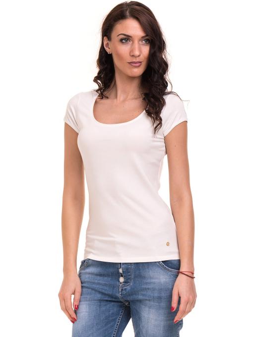 Дамска едноцветна тениска XINT 175 - екрю