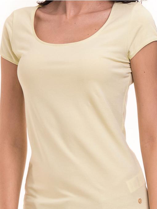 Дамска едноцветна тениска XINT 175 - жълтозелена D