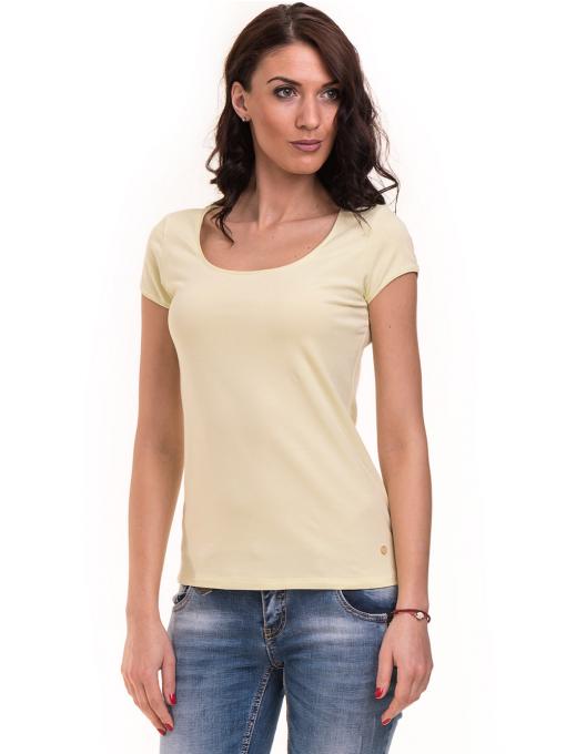 Дамска едноцветна тениска XINT 175 - жълтозелена
