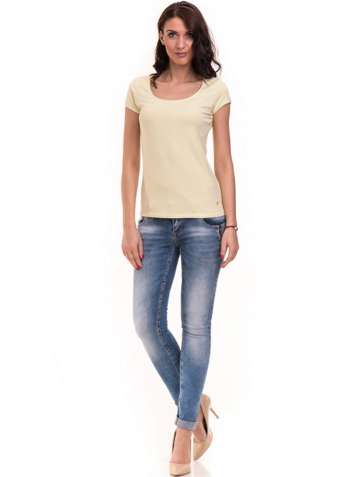 Дамска едноцветна тениска XINT 175 - жълтозелена C