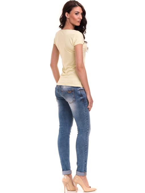 Дамска едноцветна тениска XINT 175 - жълтозелена E