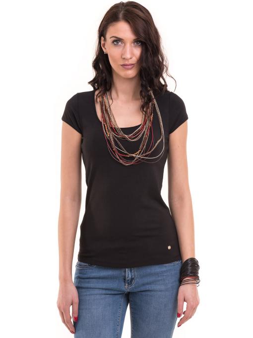 Дамска едноцветна тениска XINT 175 - черна