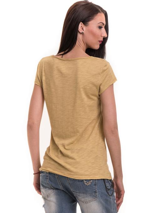 Дамска тениска XINT свободен модел 177 - тютюнево зелена B