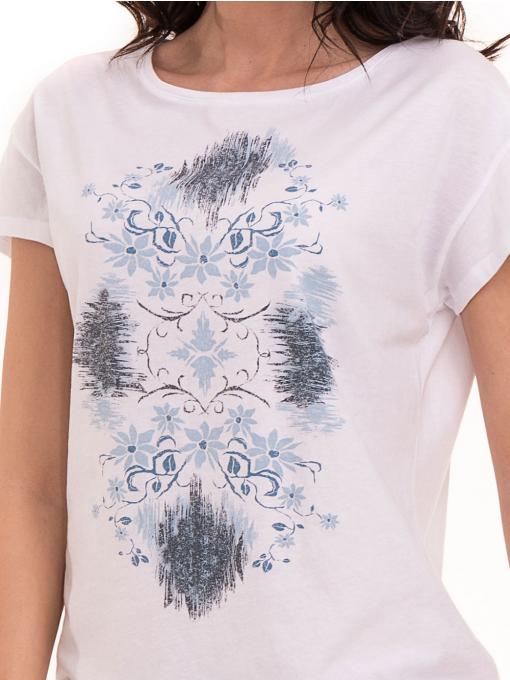 Дамска тениска с щампа XINT 191 - бяла D