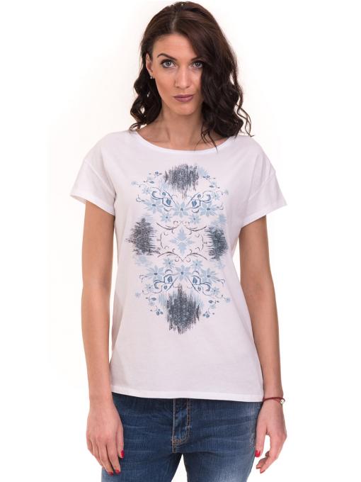 Дамска тениска с щампа XINT 191 - бяла