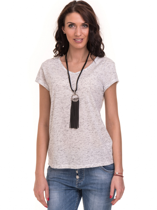 Дамска тениска с V-образно деколте XINT 220 - бяла