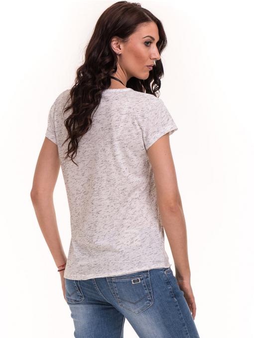 Дамска тениска с V-образно деколте XINT 220 - бяла B