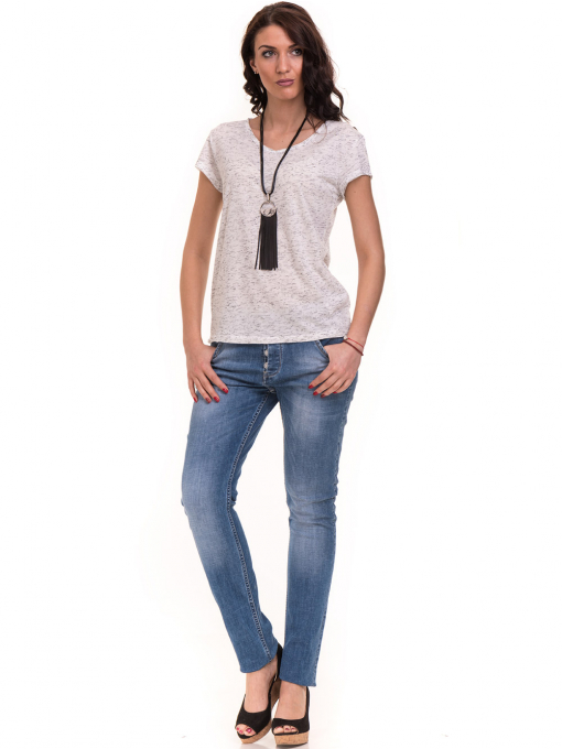 Дамска тениска с V-образно деколте XINT 220 - бяла C