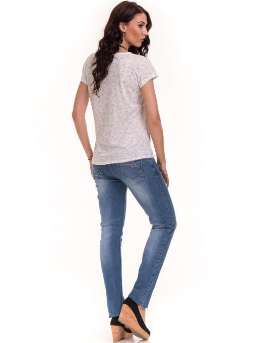 Дамска тениска с V-образно деколте XINT 220 - бяла E