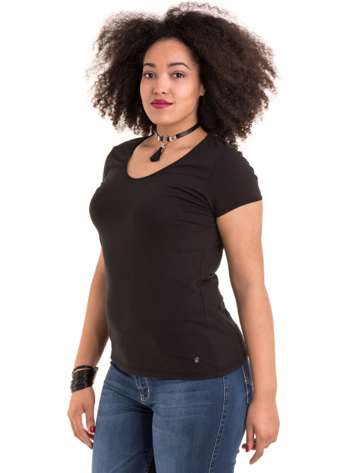 Дамска едноцветна тениска XINT 973 - черна