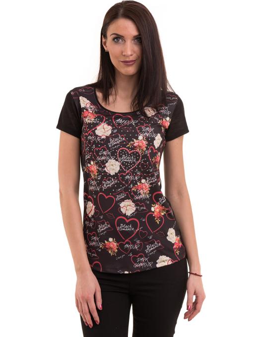 Дамска блуза с обло деколте ANA PLANA 3102 - черна