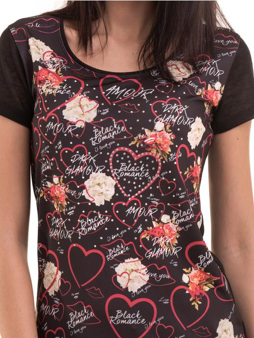 Дамска блуза с обло деколте ANA PLANA 3102 - черна D