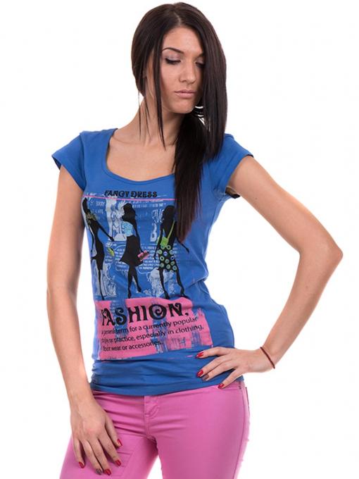 Дамска блуза с щампа CIOLLA PINK 5011 - синя
