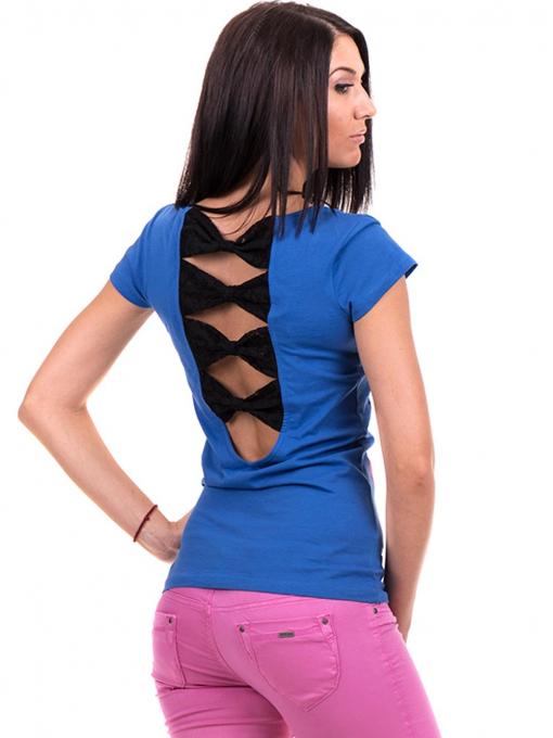 Дамска блуза с щампа CIOLLA PINK 5011 - синя B