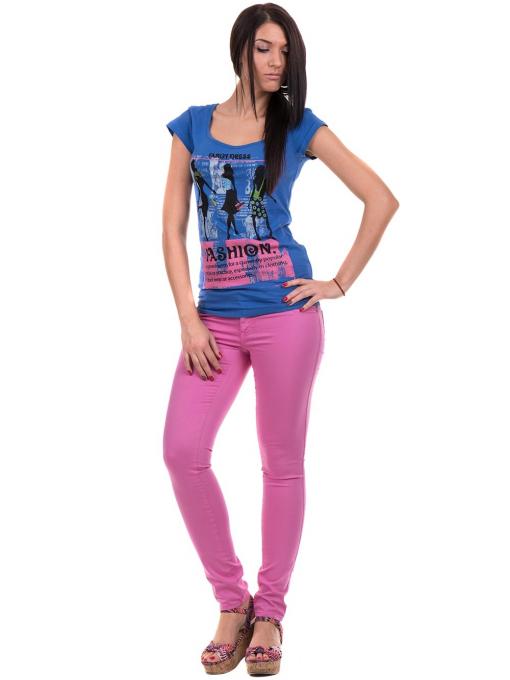 Дамска блуза с щампа CIOLLA PINK 5011 - синя C