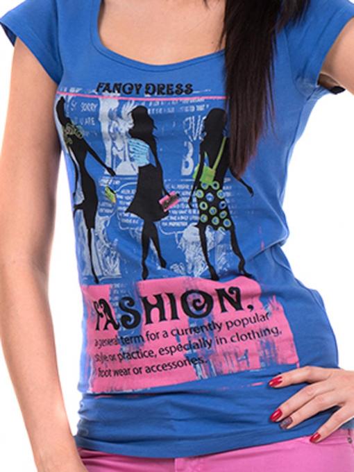 Дамска блуза с щампа CIOLLA PINK 5011 - синя D
