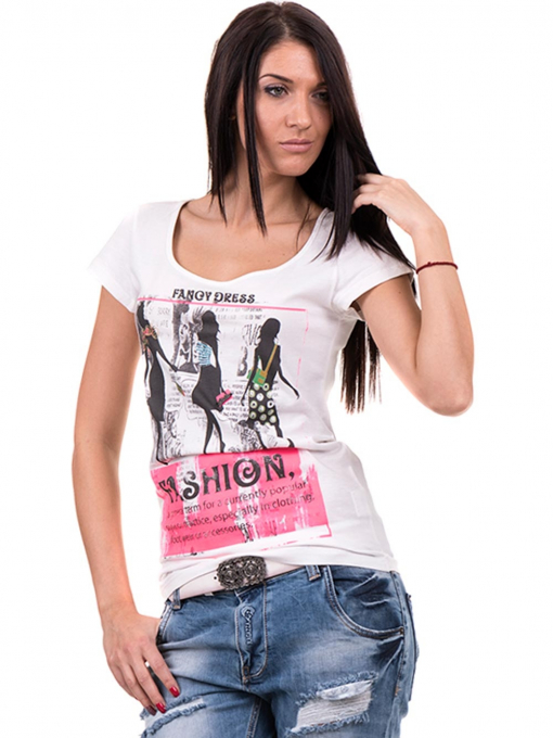 Дамска блуза с щампа CIOLLA PINK 5011 - бяла