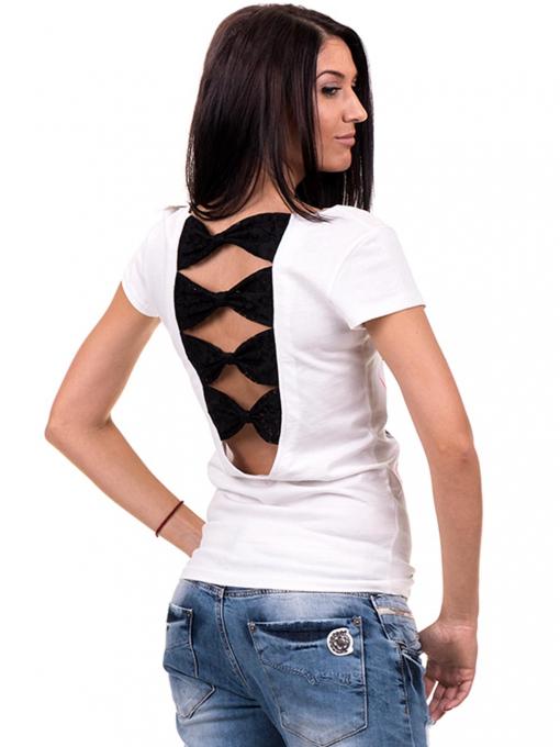 Дамска блуза с щампа CIOLLA PINK 5011 - бяла B