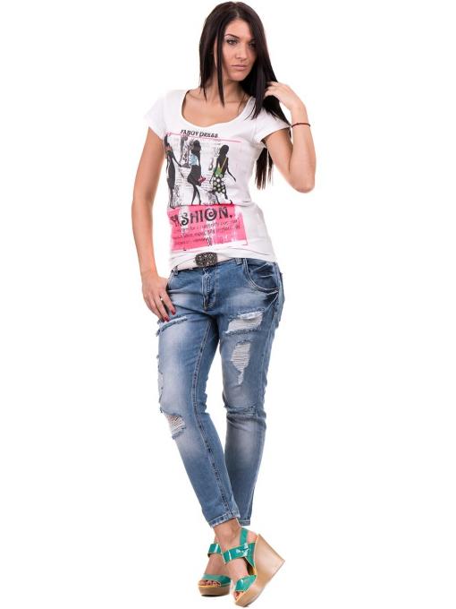 Дамска блуза с щампа CIOLLA PINK 5011 - бяла C