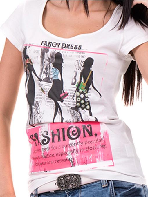 Дамска блуза с щампа CIOLLA PINK 5011 - бяла D