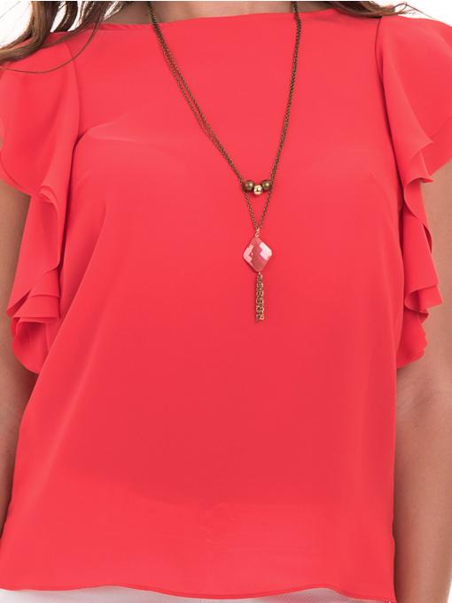 Дамска елегантна блуза GREEN & COUNTRY 1858 с колие - цвят корал D
