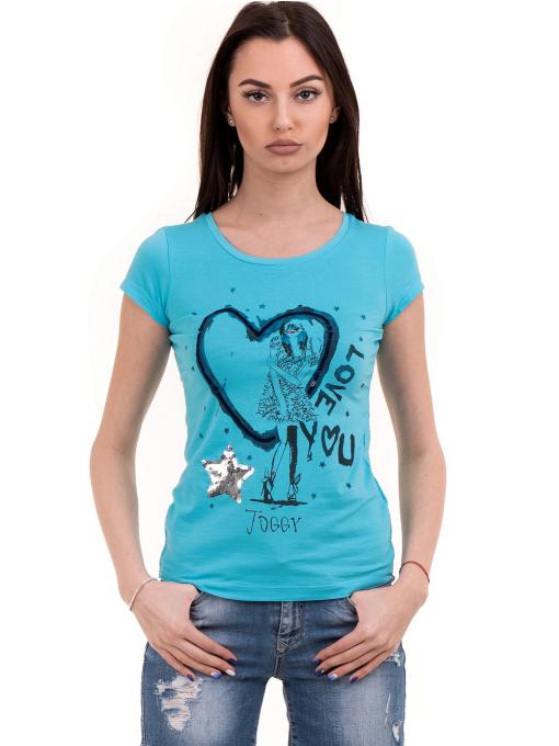 Дамска блуза с щампа и пайети JOGGY GIRLS 2092 - синя