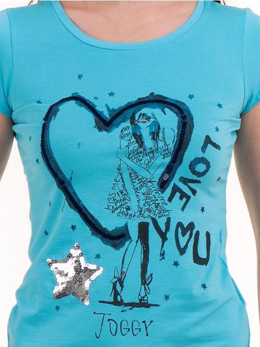 Дамска блуза с щампа и пайети JOGGY GIRLS 2092 - синя D
