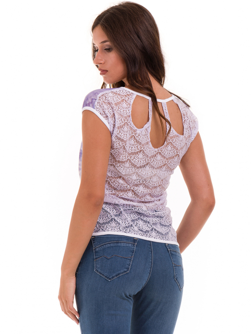 Дамска блуза с овално деколте JOGGY GIRLS 4076 - лилава B