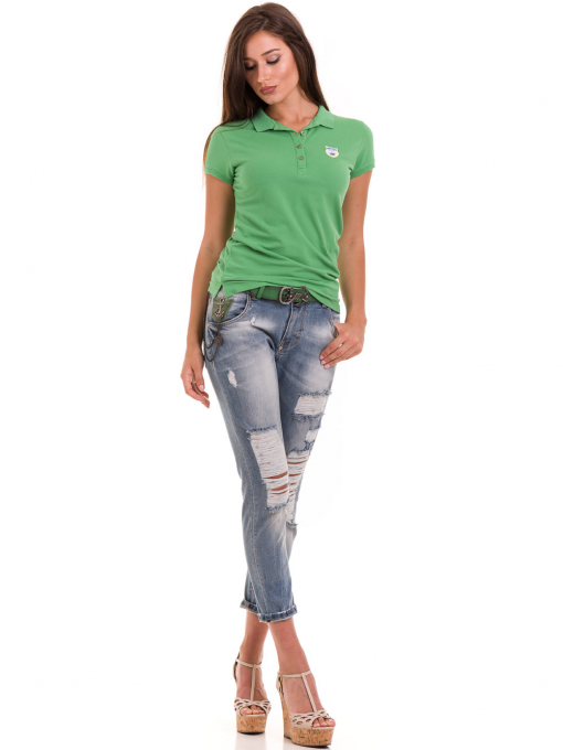 Дамска блуза с яка JOGGY GIRLS 4802- зелена C