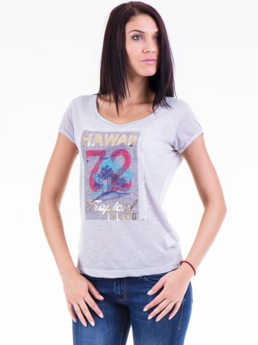 Дамска блуза с щампа JOGGY GIRLS 4890 - сива