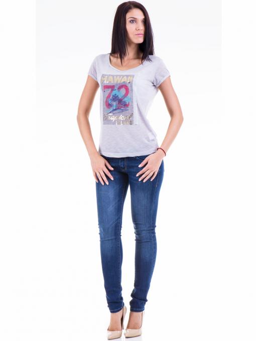 Дамска блуза с щампа JOGGY GIRLS 4890 - сива C