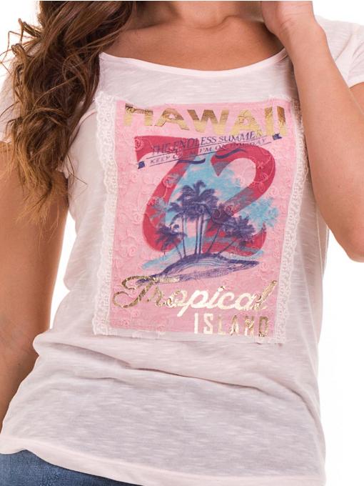 Дамска тениска с щампа JOGGY GIRLS 4890 - розова D