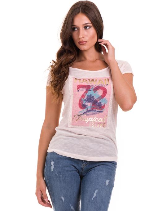 Дамска тениска с щампа JOGGY GIRLS 4890 - розова