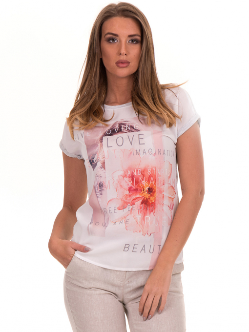 Дамска блуза с щампа и надписи JOGGY GIRLS 5196 - светло сива