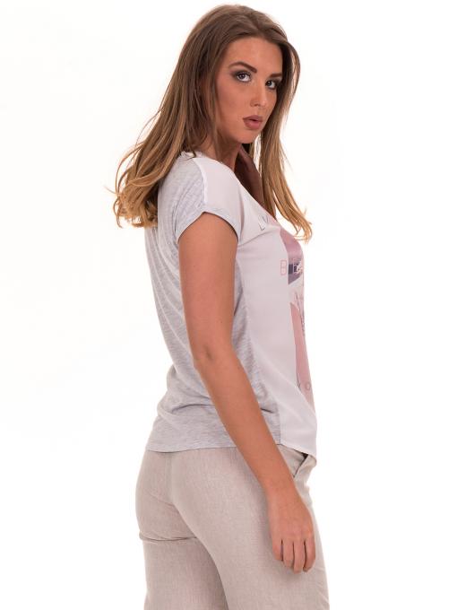 Дамска блуза с щампа и надписи JOGGY GIRLS 5196 - светло сива B