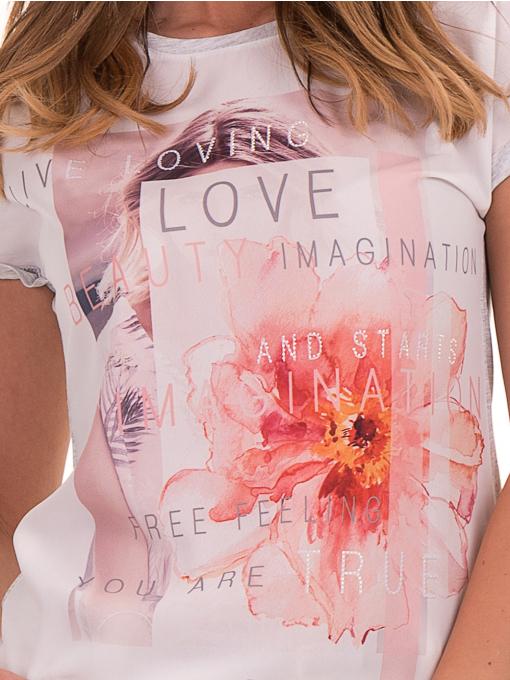 Дамска блуза с щампа и надписи JOGGY GIRLS 5196 - светло сива D