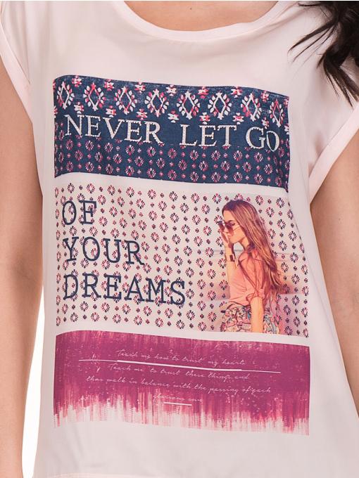 Дамска блуза с щампа JOGGY GIRLS 5245 - светло розова D
