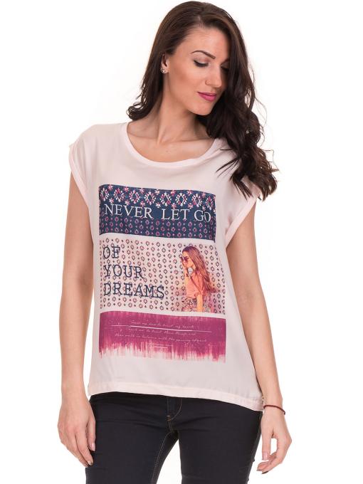 Дамска блуза с щампа JOGGY GIRLS 5245 - светло розова