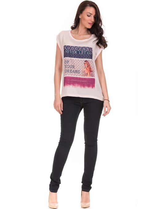 Дамска блуза с щампа JOGGY GIRLS 5245 - светло розова C