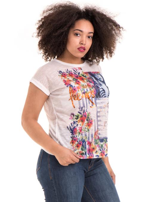 Дамска блуза с флорални мотиви JOGGY GIRLS 5278 - цвят бял