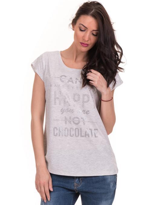 Дамска блуза с надписи JOGGY GIRLS 6156 - светло сива