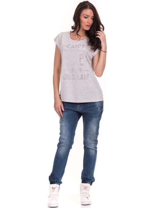 Дамска блуза с надписи JOGGY GIRLS 6156 - светло сива C