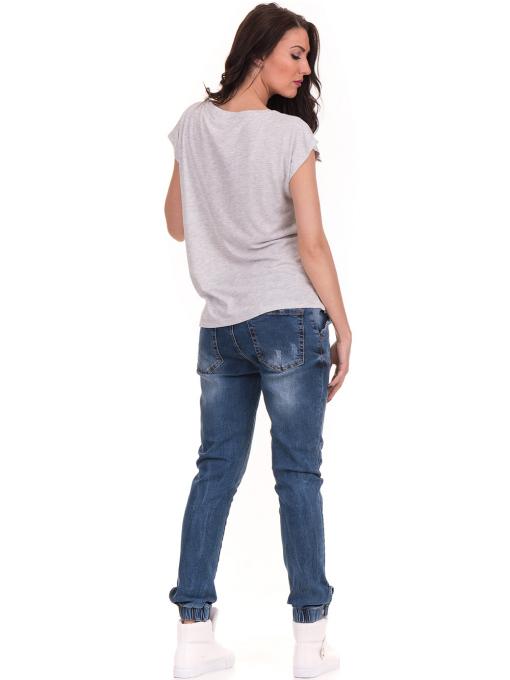 Дамска блуза с надписи JOGGY GIRLS 6156 - светло сива E