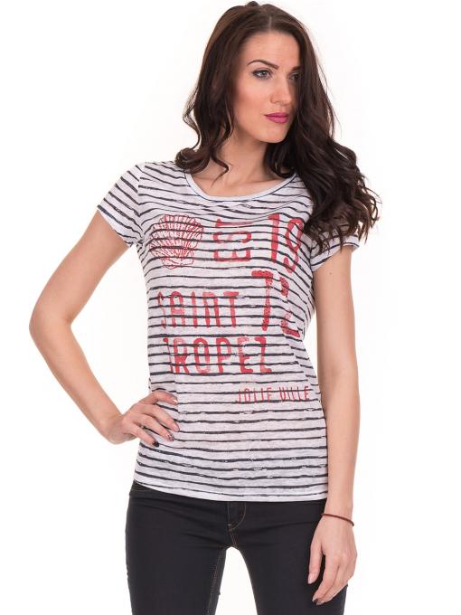 Дамска блуза на райе JOGGY GIRLS 6221 - бяла