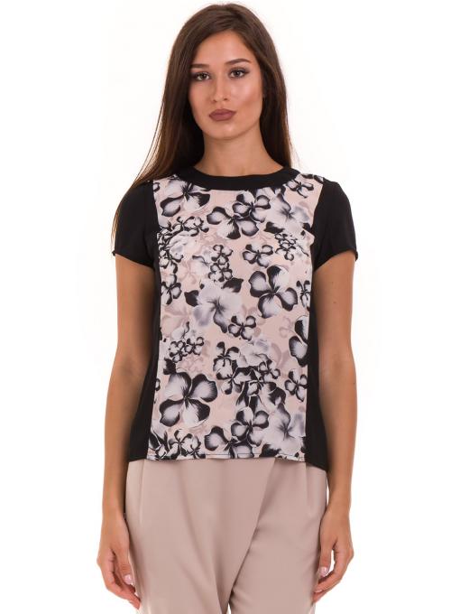 Дамска блуза с флорални мотиви JOY MISS 10431 - цвят праскова
