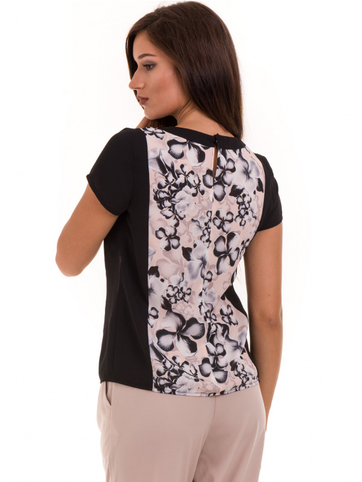 Дамска блуза с флорални мотиви JOY MISS 10431 - цвят праскова B