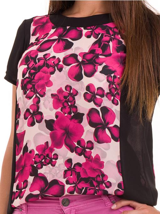 Дамска блуза с флорални мотиви JOY MISS 10431 - тъмно розова D