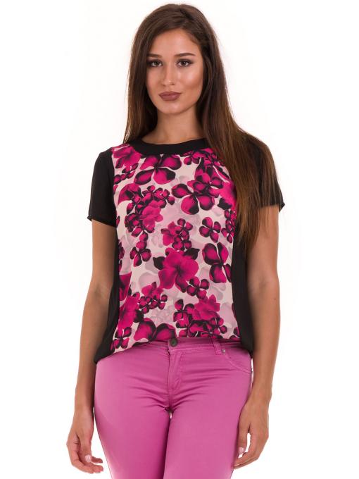 Дамска блуза с флорални мотиви JOY MISS 10431 - тъмно розова
