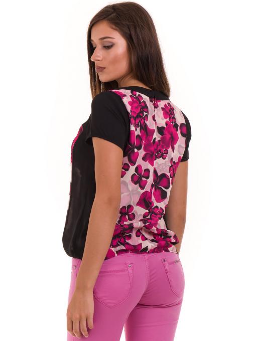 Дамска блуза с флорални мотиви JOY MISS 10431 - тъмно розова B