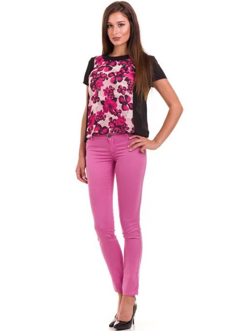 Дамска блуза с флорални мотиви JOY MISS 10431 - тъмно розова C